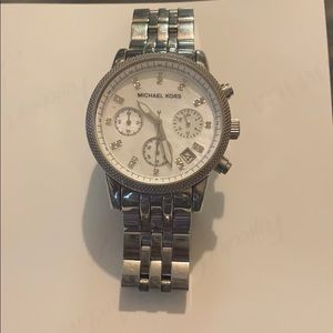 Silver Michael kors watch with pearly face